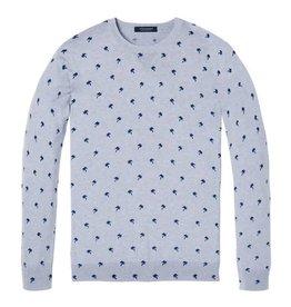 Scotch & Soda Melange Crewneck Pullover With All Over Pattern | Grey Chalk / Blue