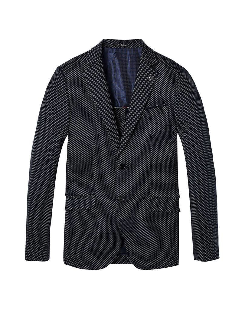 Scotch & Soda Classic Knitted Blazer | Navy / White Diamond