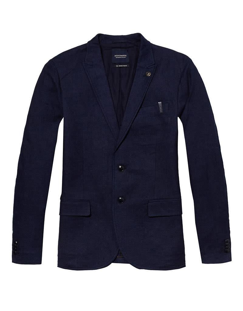 Scotch & Soda Casual Unlined Suit Jacket In Soft Indigo