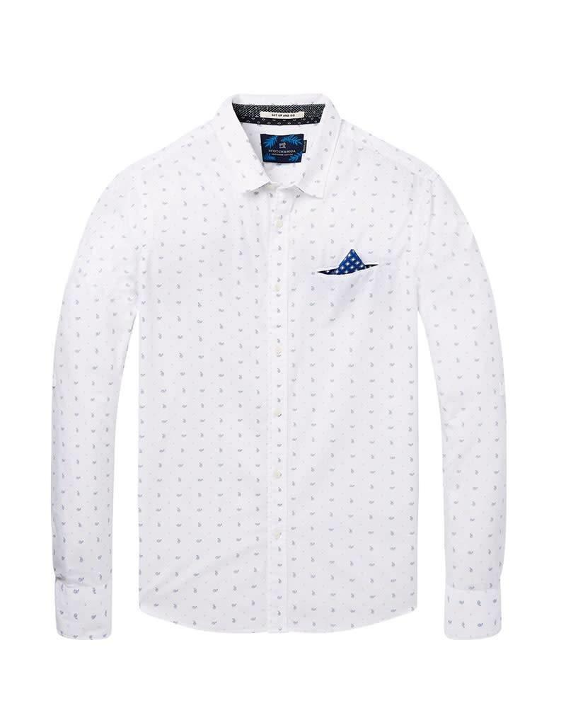 Scotch & Soda Printed White Button Through Shirt   White