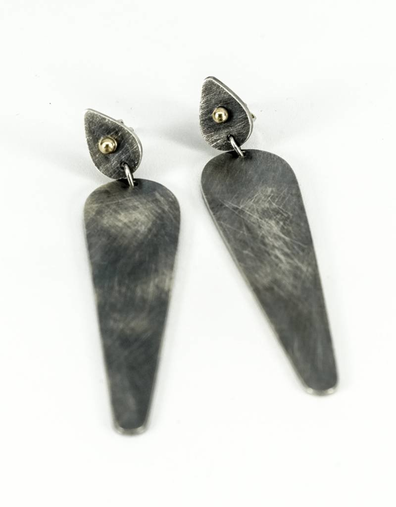 Elle Naz Oxidized Sterling Silver Long Earrings