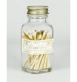 Skeem Design Mini Vintage Match Bottle-White & Gold