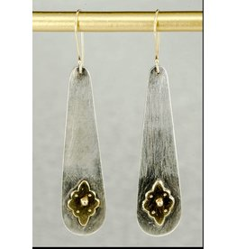 Elle Naz Oxidized Long Sterling SilverEarrings with Gold Carpet Flower