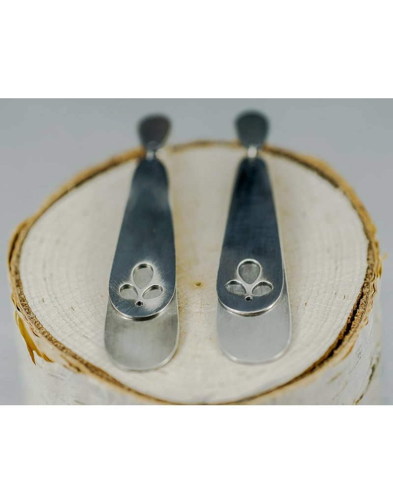 Elle Naz Oxidized Sterling Silver Double Layer Cut-Out Earrings