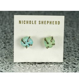 Nichole Shepherd Jewelry White Gold Rough Turquoise Prong Studs