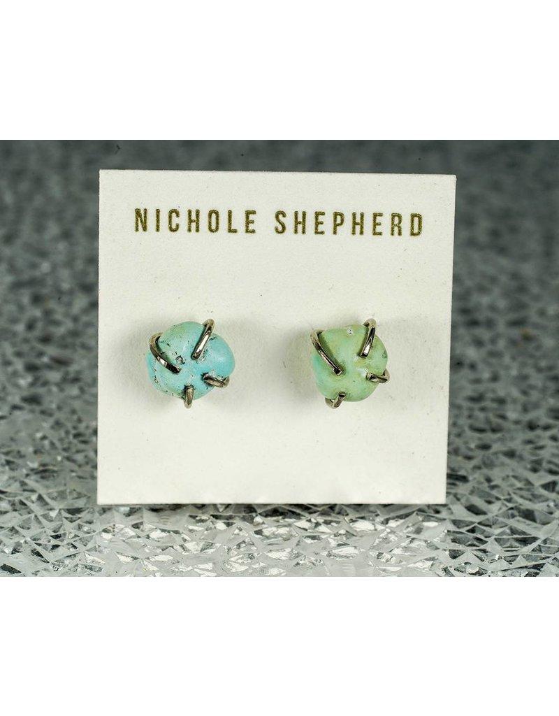 Nichole Shepherd Jewelry White Gold Rough Turquoise Prong Studs