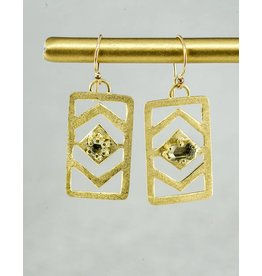 Nichole Shepherd Jewelry Gold Hand Carved Earrings with Montana Sapphires