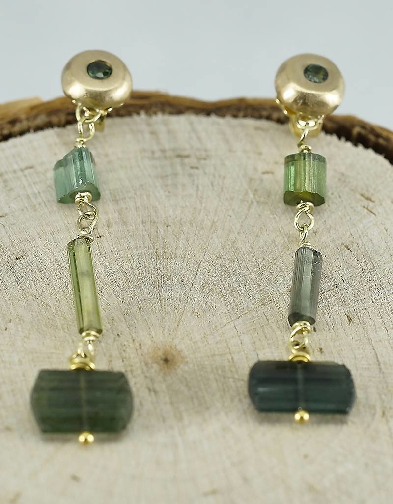 Judi Powers Jewelry Green Tourmaline 18K Gold Earrings