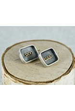 Elle Naz Oxidized Rectangle Sterling Silver Earrings with  Gold Accents