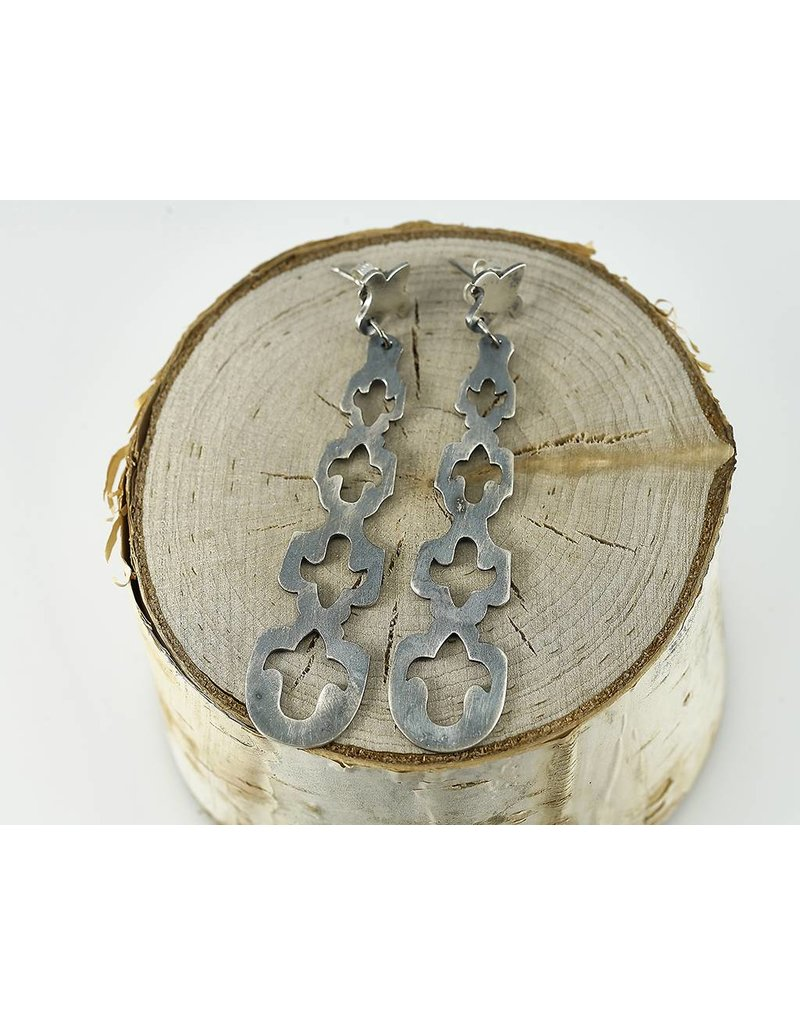 Elle Naz Long Sterling Silver Earrings with Cut-outs