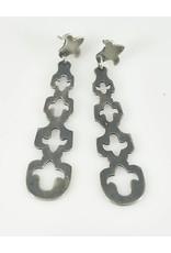 Elle Naz Long Sterling Silver Earrings with Cut-outs