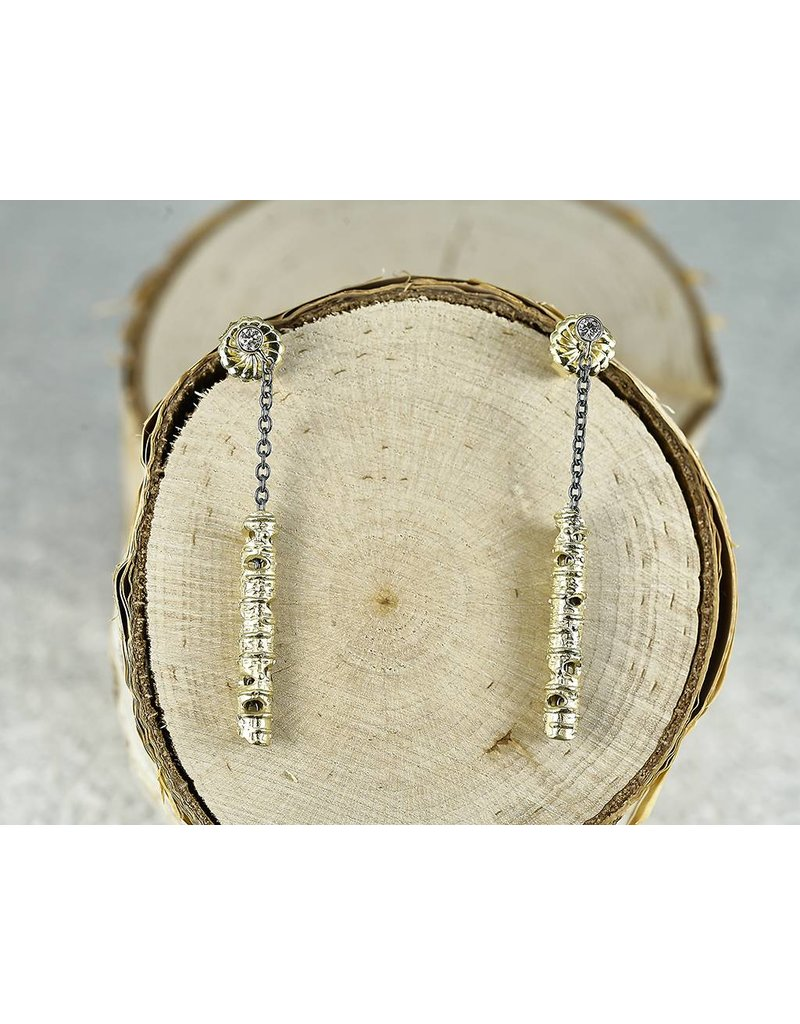Sarah Graham Metalsmithings Apen 25mm Stick Earrings on Oxidized  Silver Chain ,10 ct white Diamonds