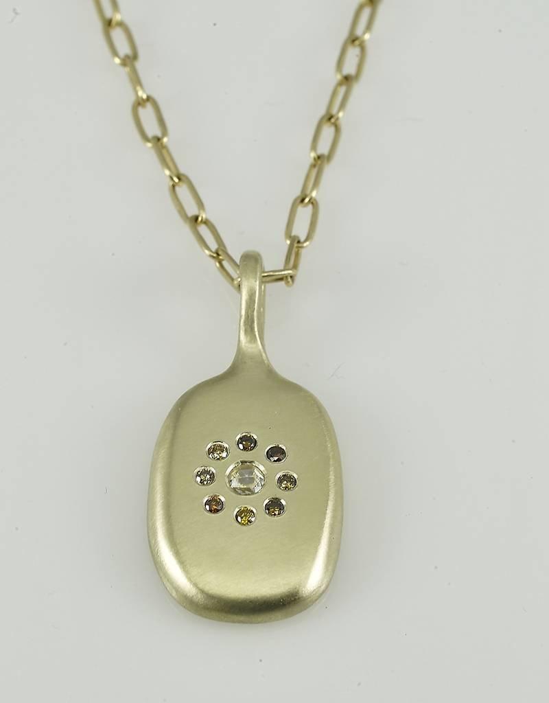 "Judi Powers Jewelry Arun Sawad Necklace with Cognac & Rose Cut Diamonds-24""inch chain 14k Gold"