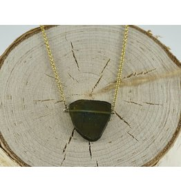 "Judi Powers Jewelry Green Tourmaline Slice Pinned Necklace 14k Gold-16"" inch chain"