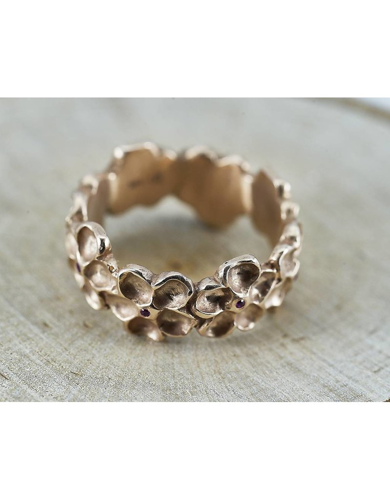 Judi Powers Jewelry Imatiens Wide Band 14k Pink Gold with Pink Sapphires-size 7
