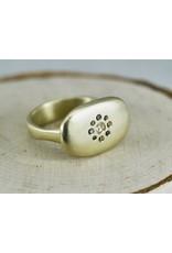 Judi Powers Jewelry Arun Sawad Ring 14K Gold with Cognac Diamonds & Rose Cut Silver Diamonds-size 6.5