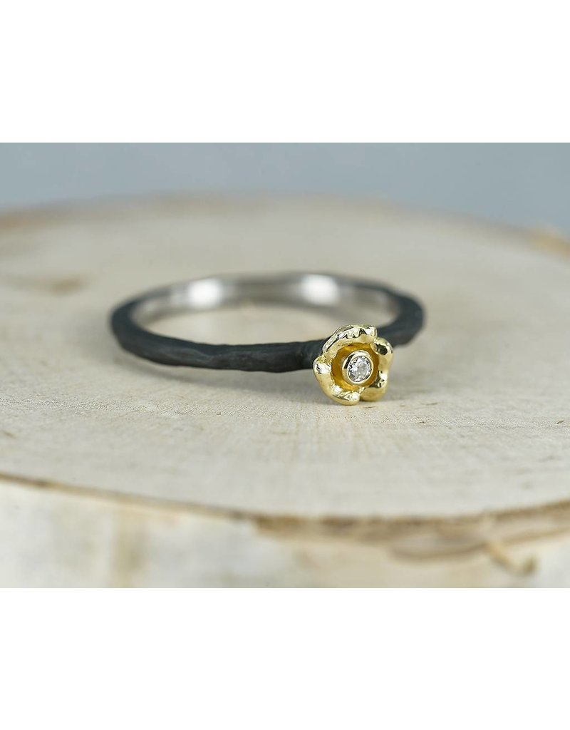 Sarah Graham Metalsmithings Bee Steel Stacker with Small Gold Flower-.02 ct White Diamond YG/CC-Size 6