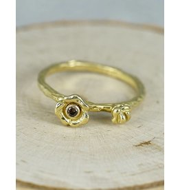 Sarah Graham Metalsmithings Bee Stacker with Baby and Med. Flower: .03ct cognac diamonds