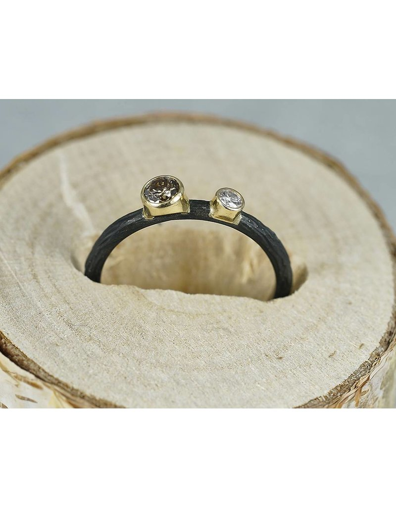 Sarah Graham Metalsmithings Pebble Small Circle Ring-.17ct tw white/cognac diamonds cc