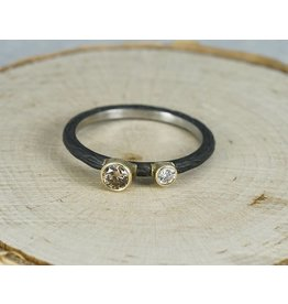 Sarah Graham Metalsmithings Pebble Small Circle Ring-.17ct tw white/cognac diamonds cc