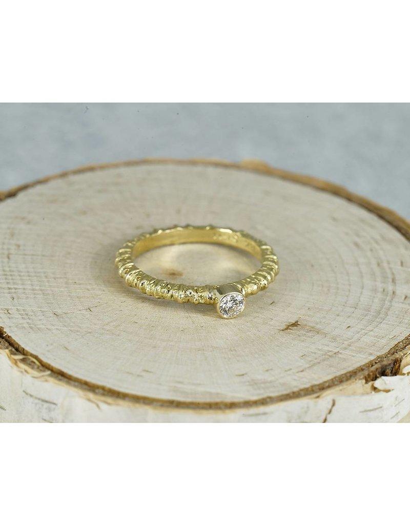 Sarah Graham Metalsmithings Aspen Stacking Ring with .15 ct White Diamonds YG