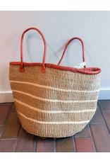 "Creative Women Market Tote 15"" white stripe sisal basket"