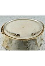 Elle Naz Sterling Silver Cuff 3 gold tubes-B-007