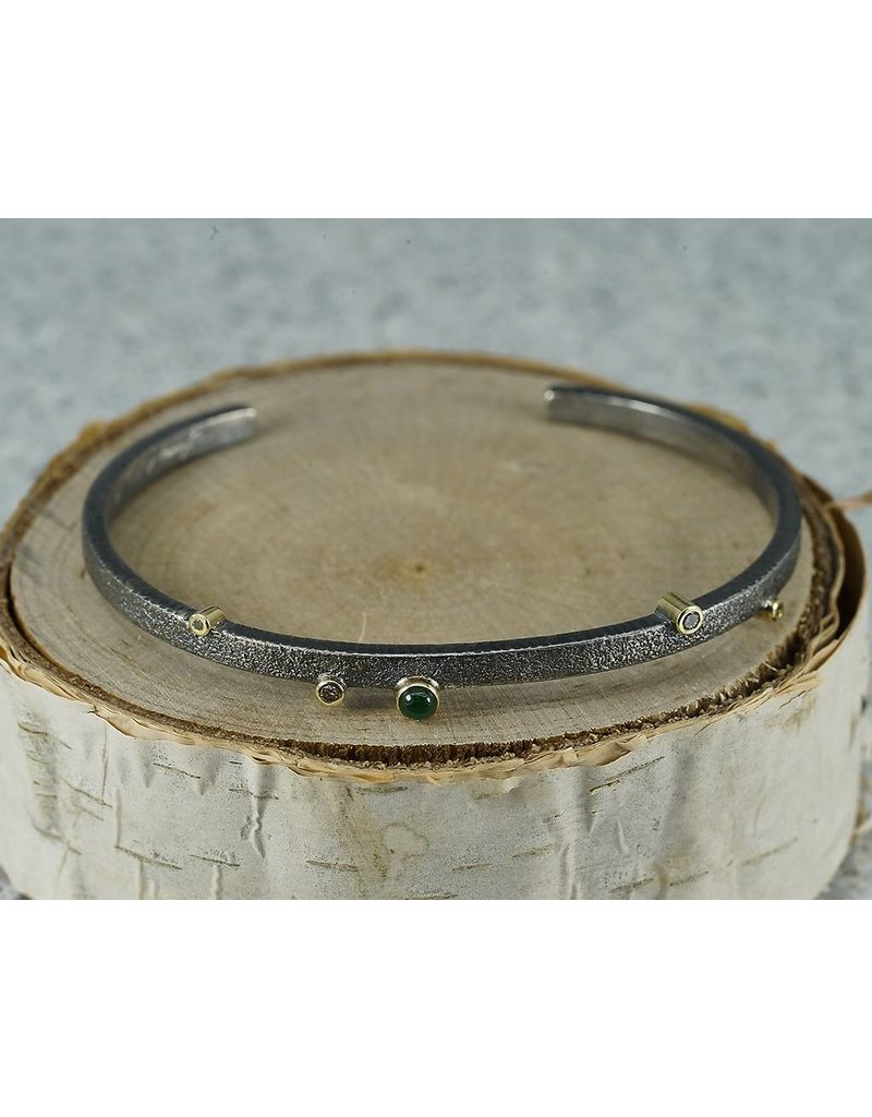 Jenny Reeves 3mm Sterling Silver Cuff, 3mm Emeralds, 1.7mm, 1.3mm Choc Diamonds