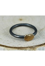 Elle Naz Sterling silver Ring, Oxidized with gold nugget-R-015