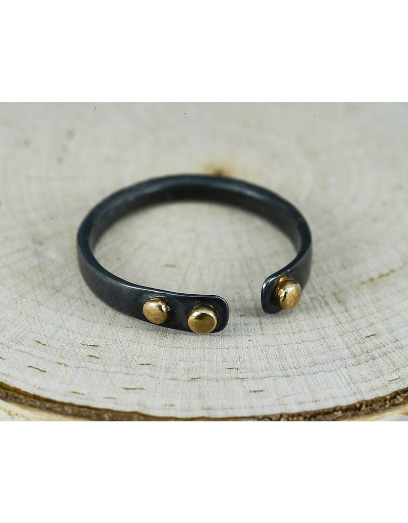 Elle Naz Oxidized sterling open ring with gold accent