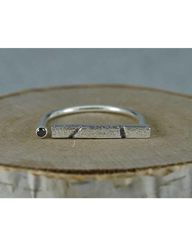 Jenny Reeves Adjustable Sterling Silver Bar Ring, 2mm Black Diamond size 8