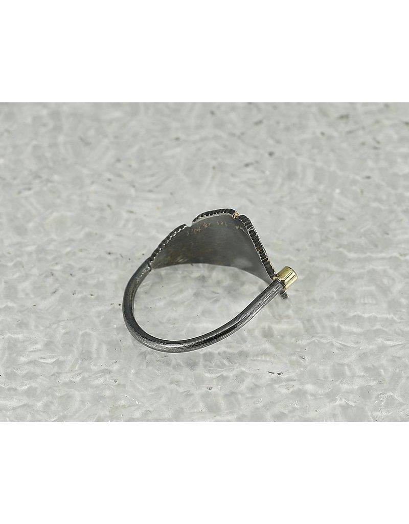 Jenny Reeves Adjustable Bedrock Ring w Keum-Boo, 2mm Ruby in 18k Oxidised