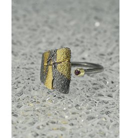 Jenny Reeves Adjustable Bedrock Ring w Keum-Boo, 2mm Ruby in 18k Oxidised