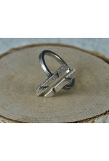 Jenny Reeves Open Two Bar Ring, Oxidized Sterling Silver size 8