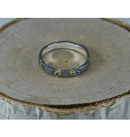 Jenny Reeves Sterling Silver Bedrock Band Oxidised, 1.7mm , 1.3mm Diamonds- size 7