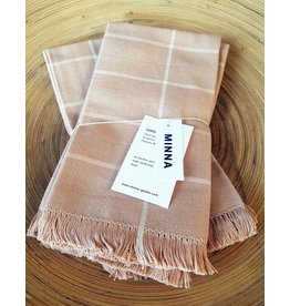 MINNA Peach Grid Napkins-set of 4