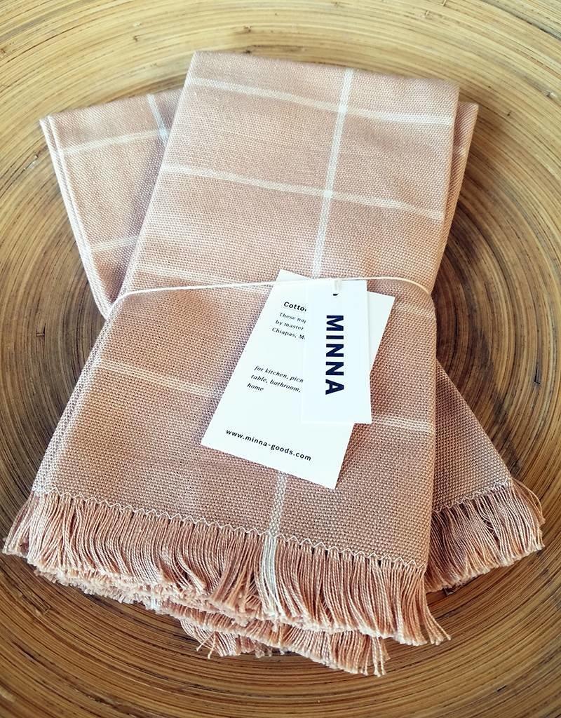 MINNA Peach Grid Napkins-set of 4