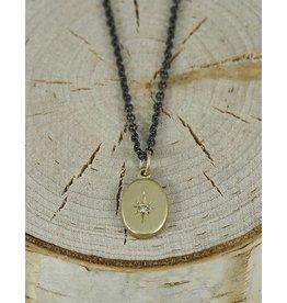 """Sarah Swell Jewelry Starry Sky Necklace 14k gold Diamond-16""""oxidized chain"""