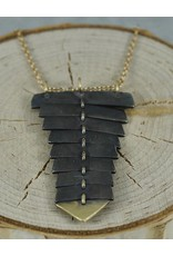 Sarah Swell Jewelry Fishbone Necklace Black&14k Gold