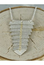 Sarah Swell Jewelry Fishbone Single Necklace Sterling Silver 14k Gold Balls