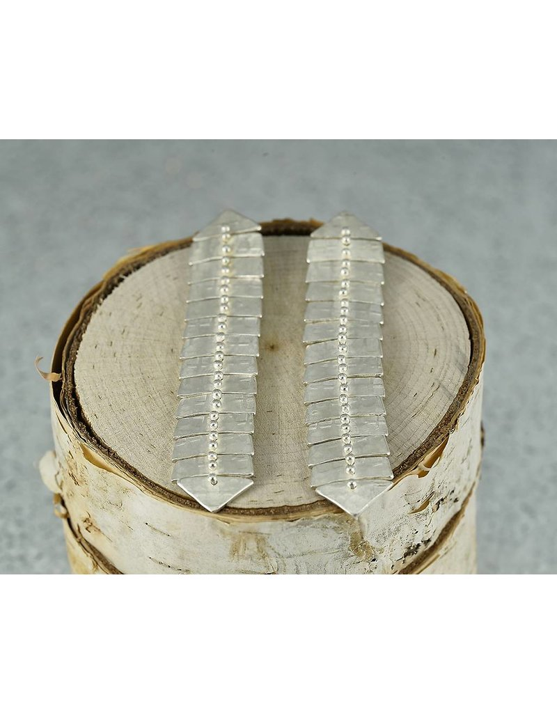 Sarah Swell Jewelry Fishbone Slim XL Studs Sterling Silver