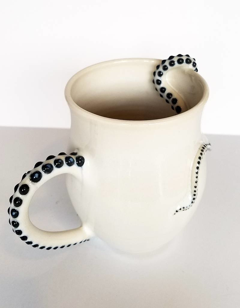 The Clay Cache Porcelain Octopus Mug-Gray