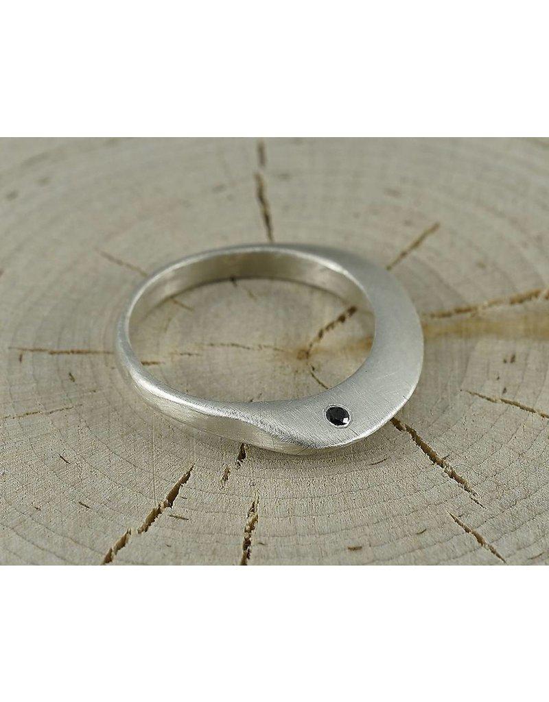Judi Powers Jewelry Montauk Ring Sterling Silver-Black Diamond size 6