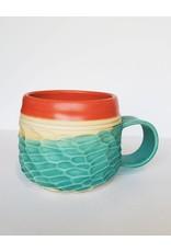 Unurth Ceramics Horizon Mug-Coral Satin Turquoise Matte