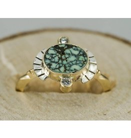 Young In The Mountains Sol Ring Peacock Turquoise 6.5, 14kG, .03 ct white diamonds