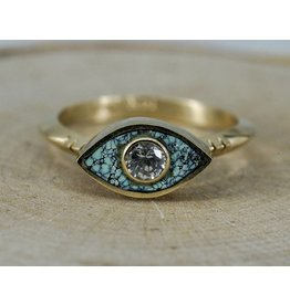 Young In The Mountains Third Eye Ring Peacock Turquoise, 6.5, 3.5mm white sapphire, 14kG