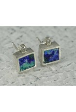 Young In The Mountains Cube Stud Earrings Azurite .03ct white Diamond Sterling Silver