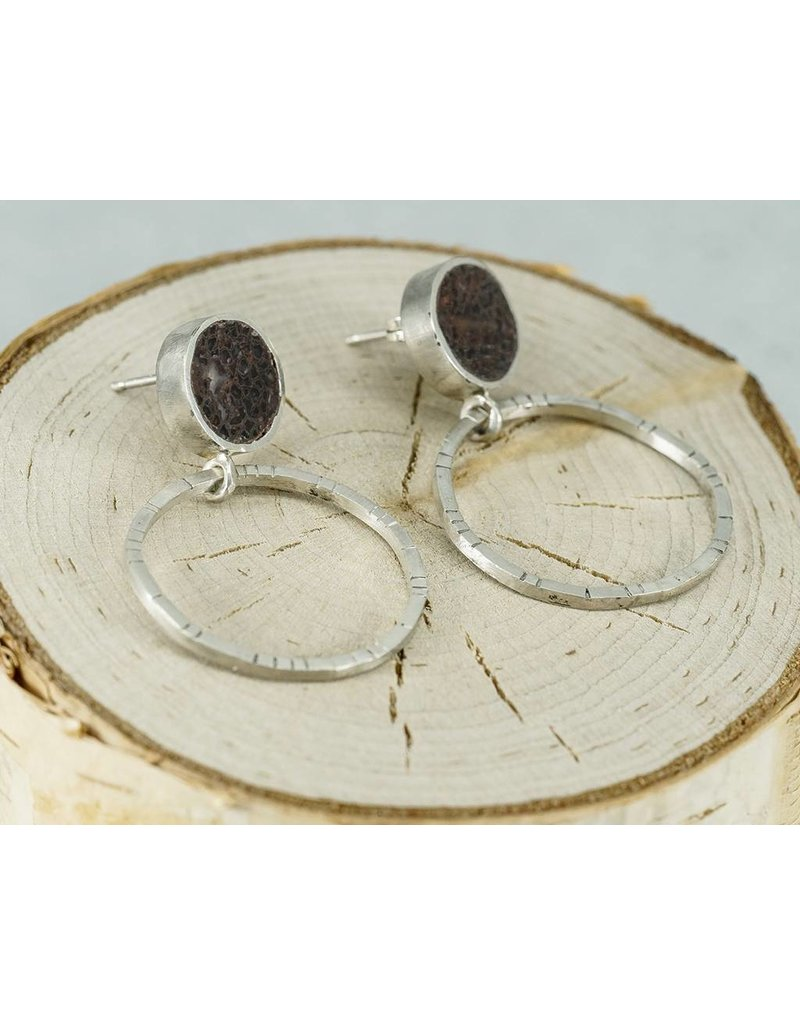 Young In The Mountains Frida  Stud Hoop Earrings Dino Bone Sterling Silver