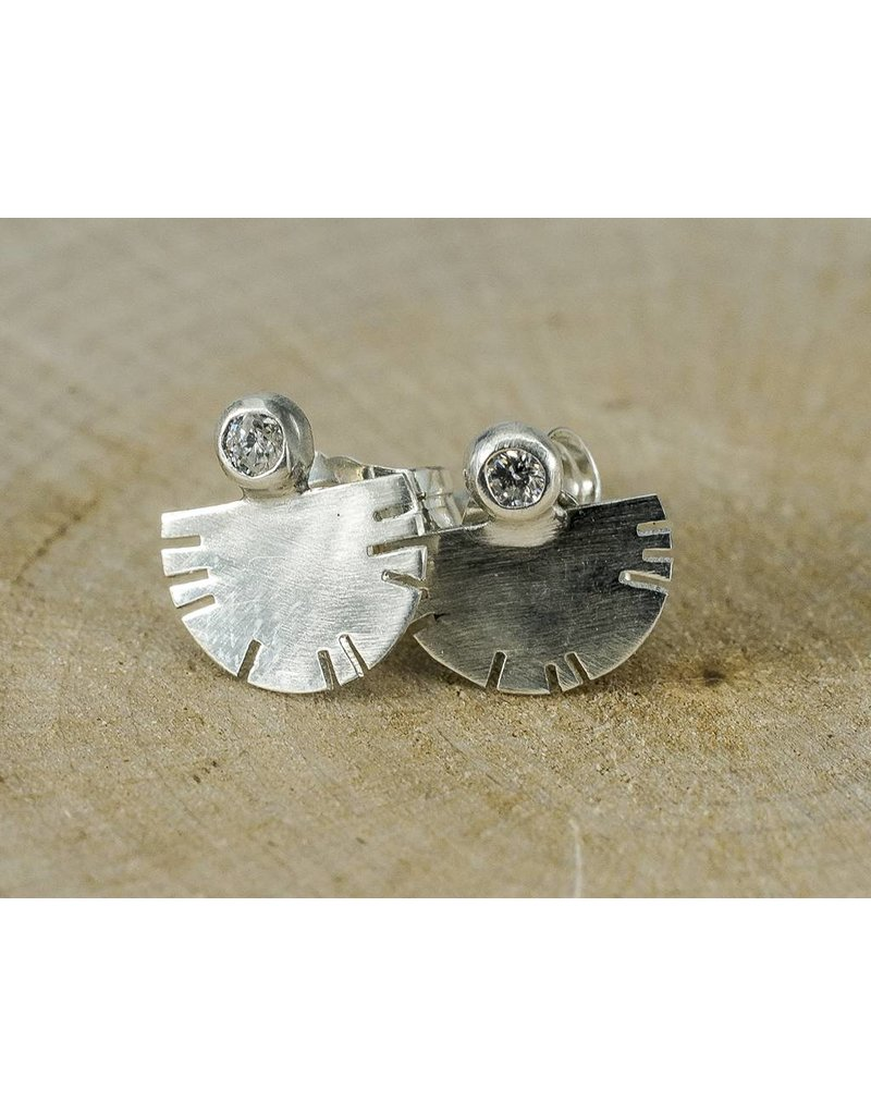 Young In The Mountains Aquila Sterling Silver Stud Earrings .03ct Diamonds