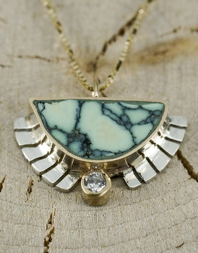 "Young In The Mountains Half Sol Necklace Turquoise .03 ct white diamond 18"" 14k gold chain"